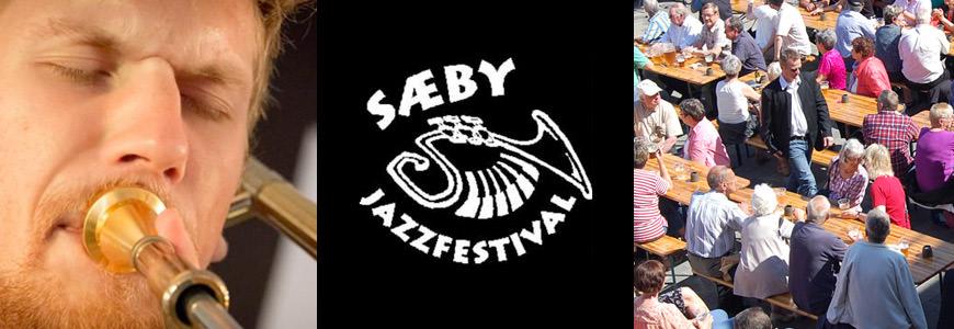 Trompetist, publikum og logo til Sæby Jazzfestival